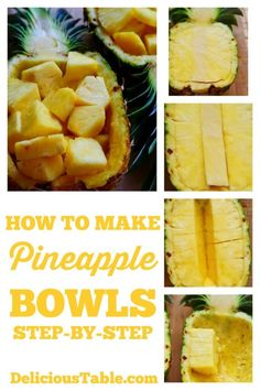 Step-by-step instructions to make Pineapple Bowls (pineapple boats), use to serve pineapple chunks, tropical coconut rice, teriyaki or huli huli chicken. Pineapple Boats, Pineapple Rice, Pineapple Chicken, Pineapple Coconut Rice Recipe, Pineapple Recipes, Vegetarian Recipes, Cooking Recipes, Healthy Recipes, Best Nutrition Food