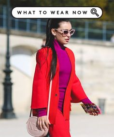 Fall Color Combination Street Style Color Blocking | Most people assign one color to fall, but the wider palette you have, the more fun it is to style your cozy looks. Here's how to elevate your outfit. #refinery29 http://www.refinery29.com/color-combinations-2016