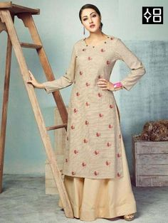 Buy Cream Heavy Party Wear Pure Handloom Readymade Kurti With Palazzo Diwali Dresses, Diwali Outfits, Plain Kurti, Fancy Kurti, Embroidered Kurti, Online Shopping Sarees, Anarkali Dress, Indian Ethnic Wear, Dress Making