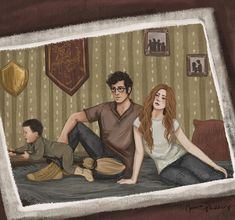 James, Lily and little Harry - Harry finds a photo of baby him zooming around on a toy broomstick. Art by Jenna Paddey Art