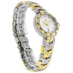 TAG HEUER LADIES LINK SERIES DIAMOND SWISS QUARTZ WATCH  - Polished Two Tone Stainless Steel Case & Bracelet - Silver Dial - Gold Tone Luminous Hour & Minute Hands - Genuine Diamond Hour Markers - Date Window at 6:00 Position - Black Roman Numeral Hour Markers On Bezel - Screw Down Crown