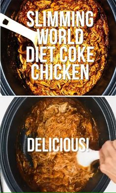 Looking for an easy Slimming World chicken recipe? This Diet Coke Chicken (a.a Cola Chicken / Crockpot BBQ chicken/ Shredded Chicken) is syn free, mega tasty and so easy to prepare in your slow cooker, Instant Pot or the stove. Slow Cooker Slimming World, Slimming World Dinners, Slimming World Chicken Recipes, Slimming World Diet, Slimming Eats, Slimming Recipes, Slimming World Fakeaway, Diet Coke Chicken Slimming World, Slimmers World Recipes