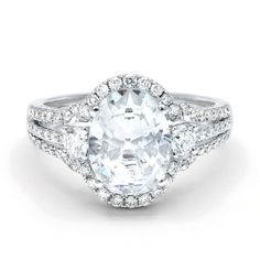 KJ5 18K White Gold Oval Diamond Three Stone Halo Semi-Mount Engagement Ring. Available now at kings1912.com
