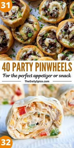 Party pinwheels are some of the easiest and quickest appetizers and bite sized snacks you can whip up in a few minutes to feed a crowd. No Cook Appetizers, Finger Food Appetizers, Holiday Appetizers, Appetizer Recipes, Holiday Recipes, Dinner Recipes, Bite Size Snacks, Pinwheel Recipes, Picnic Foods