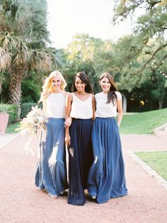 Mix and Match Revelry Bridesmaid Dresses and Separates. Revelry has a wide selec. Bridesmaid Skirt And Top, Bridesmaid Separates, Unique Bridesmaid Dresses, Navy Blue Bridesmaid Dresses, Navy Bridesmaid Dresses, Wedding Bridesmaids, Wedding Dresses, Tulle Dress, Tulle Skirts