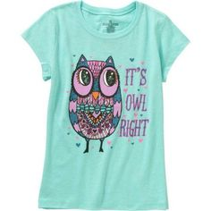 Girls' Owl Right Short Sleeve Crew Neck Graphic Tee, Size: XL, Blue