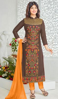 Brown Colored Phenomenal Embroidered Designer Suit-2