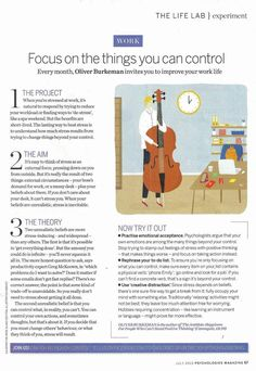 How to improve your WORK life by focusing on the things you CAN control - Psychologies Today
