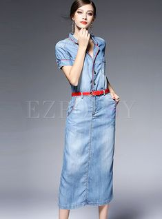 The maxi dresses of Ezpopsy have been carefully designed.From flowing floor length styles to fishtails, we have it covered. Modest Dresses, Maxi Dresses, Denim Dresses, Denim Skirts, Long Dresses, Denim Fashion, Fashion Outfits, Fasion, Women's Fashion