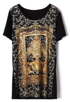Baroque Religious Pattern T-shirt in Black