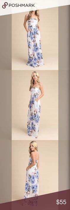 """Beautiful Maxi Dress Off Shoulder Strapless Floral Print Maxi SIZE SMALL- length 51.5"""" Bust: (laying flat) -26"""" (with stretch) 36"""" hips 42"""" TRUE TO SIZE Dresses Maxi"""