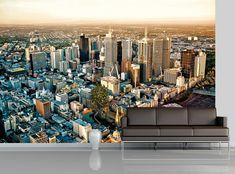 Skyline Wallpaper MURAL Panoramic City Melbourne WALL DECOR Room Art Photo #T-walldecor