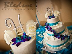 I love the colors and the flowers and the cake topper!!! The perfect turquoise and purple wedding cake!