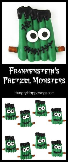 Have fun this Halloween in your kitchen laboratory building Frankenstein's Pretzel Monsters. See how easy these sweet and salty holiday treats are to make by watching the video tutorial at HungryHappenings.com/frank.