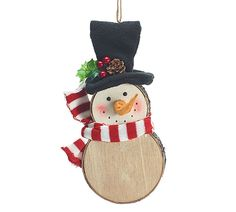 Full body snowman with a black top hat, red and white striped knit scarf. Wood…