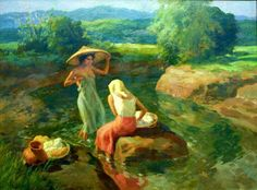Women washing clothes by the river~ painting by Fernando Amorsolo River Drawing, Guy Drawing, Filipino Art, Filipino Culture, Philippine Art, River Painting, Vintage Artwork, Museum Of Fine Arts, Pictures To Paint