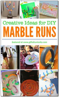 You dont need fancy toys to create a very cool marble run. In this post Ive collected more than a dozen creative ideas for making a DIY marble run. Making a marble run provides children with an open-ended challenge requiring creativity, ingenuity, and problem solving skills. Plus, kids can approach the task from whatever developmental level they are at, meaning they work for all ages! #marblerun #engineering #STEAMactivities #STEAMeducation #homeschool #giftofcuriosity || Gift of Curiosity
