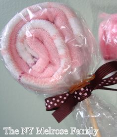 For baby shower.. wash cloth flowers
