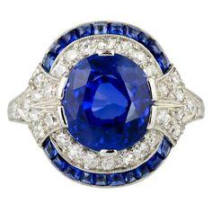 Natural Burma Sapphire And Diamond Art Deco Platinum Ring, circa 1930's