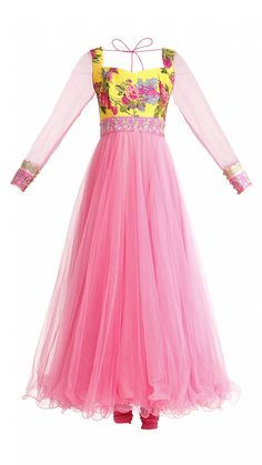 Pink and Yellow Floral Anarkali