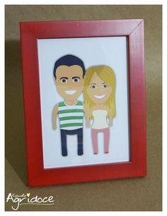 Criação da ilustração personalizada do casal + impressão + moldura vermelha com vidro.  Tamanho do quadro: 16 x 20 cm.  Valor: 100,00. R$ 100,00
