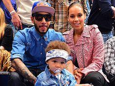 Swizz Beats, his wife, Alicia Keys, and their cute little boy, Egypt.