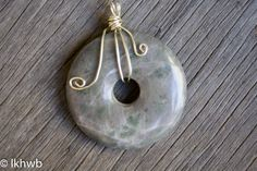 Tumbled Stone Pendant, Wire Wrapped, OOAK, Silver Wire, Donut Crystal Stone, Gray with Highlights of Green & White, Nature, Simple, Elegant by DoubleEweBee on Etsy