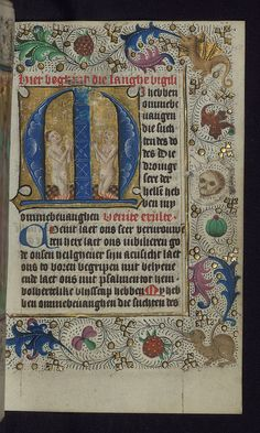 Illuminated Manuscript, Book of Hours in Dutch, Initial M with two souls praying in purgatory, Walters Manuscript W.918, fol. 150r | by Walters Art Museum Illuminated Manuscripts