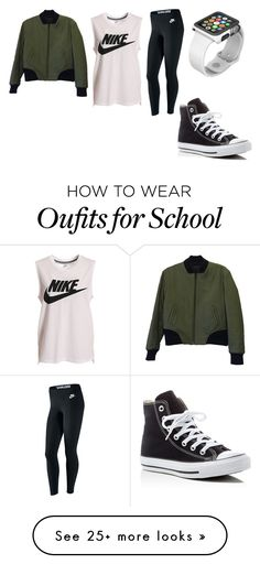 """Simple School Outfit"" by farahr0798 on Polyvore featuring NIKE, rag & bone, Converse and Apple"