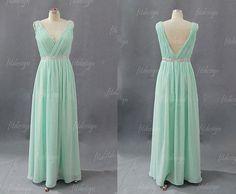 mint prom dress, chiffon prom dress, long prom dress, modest prom dress, cheap prom dress, v-neck prom dress, 1400182 op Etsy, 97,22€