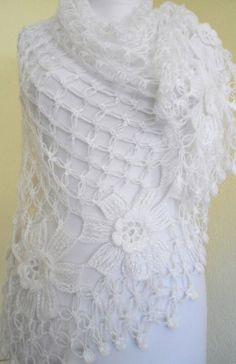 crochet flower shawl fashionunique gift valentine by likeknitting