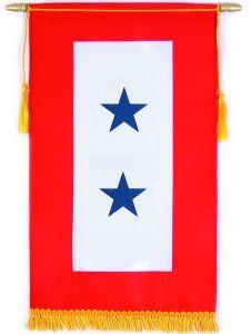 "Service Flag Banner 8""x14"" with 2 Stars by Flags Unlimited. $16.75. This 8""x14"" dyed banner comes mounted on a crossbar with gold cord & tassel. This standard is displayed by family members of a person serving in the Armed Forces during a period of war. Organizations and businesses with personnel serving in the armed forces may also be display the Service Banner. History of the Service Banner: The tradition of the Service Banner dates back to World War I. Mothers of young s..."