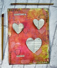 Where there is love journal page by Gemma Hynes using Distress Oxides. #artjournal #artjournalpages #journaling #hearts #distressink #distressoxides #theartisticstamper #stamping