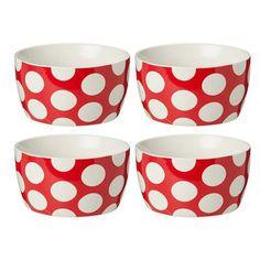 Set of 4 - Red Dot Cereal Bowls $8  (Kmart)