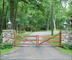 Morgan 3 Rail Farm Gate from Walpole Outdoors. Browse our large selection of wood, solid cellular PVC and vinyl driveway, estate and walkway gates. Driveway Entrance, House Entrance, Farm Entrance Gates, Entrance Ideas, Driveway Posts, Gate House, Main Entrance, Front Gates, Entry Gates