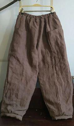 Women Thick Wide Leg Pants Elastic Waist Linen Vintage Female Pants Baby Clothes Patterns, Clothing Patterns, Cotton Pants, Linen Pants, Elastic Waist Pants, Plus Size Pants, Pants For Women, Clothes For Women, Warm Coat