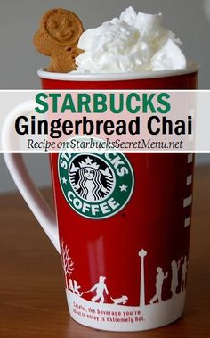 Starbucks Gingerbread Chai Latte Starbucks Gingerbread Chai Latte: Who can say no to delicious gingerbread? Here's a delicious twist to the regular Chai Tea Latte; adding gingerbread to the mix really elevates this already tasty beverage. Take advantage o Starbucks Secret Menu Drinks, Starbucks Recipes, Starbucks Coffee, Coffee Recipes, Slow Cooker Desserts, Vino Y Chocolate, Chocolate Art, Chai Recipe, Gingerbread Latte