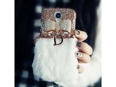 #Crystal Bow Fluffy #Samsung Galaxy S4 #Case