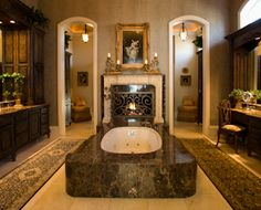 Luxury Master Bath with fireplace - shower is located behind fireplace, with dual entrances/dressing areas.talk about the ultimate bathroom! Dream Bathrooms, Beautiful Bathrooms, Luxury Bathrooms, Master Bathrooms, Luxury Homes Dream Houses, Luxury Homes Interior, Style At Home, Pinterest Home, Master Bedroom Makeover