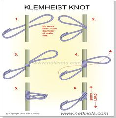 The Klemheist knot grips a rope when loaded but is free to move with the weight is removed  Paracord Knots, Rope Knots, Macrame Knots, Survival Knots, Survival Guide, Survival Skills, Knots Guide, Hiking Staff, Fishing Knots