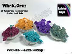 Rainbow Loom 3D Amigurumi Whale/Orca (Loomigurumi) Crochet Hook - Loom-less tutorial by Izzalicious Designs.