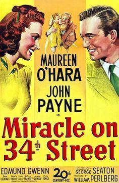 "Miracle on 34th Street (Milagre na Rua 37) de 1947 filme natalino ""De Ilusão Também se vive"""