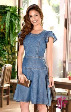 Shop sexy club dresses, jeans, shoes, bodysuits, skirts and more. Denim Attire, Denim Outfit For Women, Denim Skirt Outfits, Button Down Denim Dress, Denim Shirt Dress, Denim Fashion, Skirt Fashion, Fashion Outfits, Simple Kurti Designs