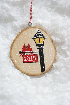 Cardinal tree ornament hand painted on a slice of wood approx. 3 round can be customized for names, initials, or any other ideas of your [. Gold Christmas Decorations, Painted Christmas Ornaments, Bird Ornaments, Wooden Ornaments, Hand Painted Ornaments, Christmas Wood, Handmade Ornaments, Handmade Christmas, Ornaments Ideas