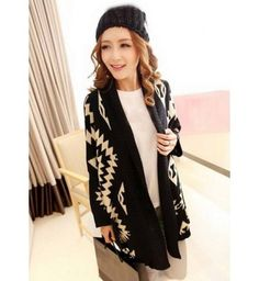 Fashion Black Geometrical Print Long Sleeve Woman Cardigans