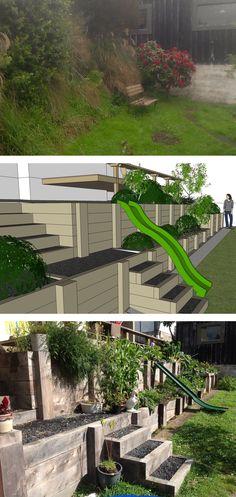 Macrocarpa sleeper terracing creates opportunity for organic fruit and vegetable garden.