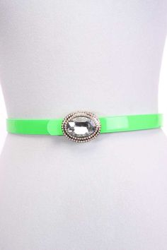 #FashionVault #ami clubwear #Women #Accessories - Check this : Lime Faux Leather Adjustable Rhinestone Buckle Belt for $9.99 USD instead of $4.99 #OnSale