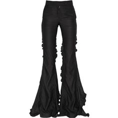 Marco De Vincenzo Women Crepe Satin Flared Pants (5.400 BRL) ❤ liked on Polyvore featuring pants, bottoms, black, jeans, zipper pants, crepe pants, ruffle pants, flare trousers and satin pants
