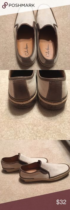 Men's Cole Haan Tan Casual Loafers Espadrilles These slip-on style casual loafers are in excellent pre-owned condition. They feature a leather footbed, leather lining, and a jute-wrapped rubber sole. Perfect for warm weather! Cole Haan Shoes Loafers & Slip-Ons