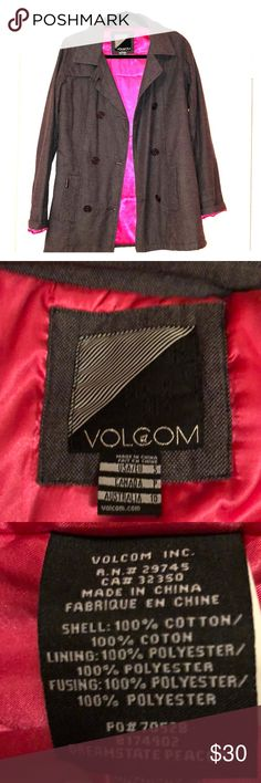 Volcom Grey/Denim Peacoat 100% Cotton Classic peacoat style with a funky twist of bright color Soft quilted bright pink inside line Volcom Jackets & Coats Pea Coats